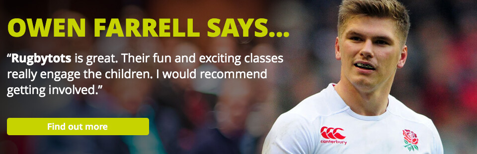 Banner quote from Rugby player, Owen Farrell, about Rugbytots